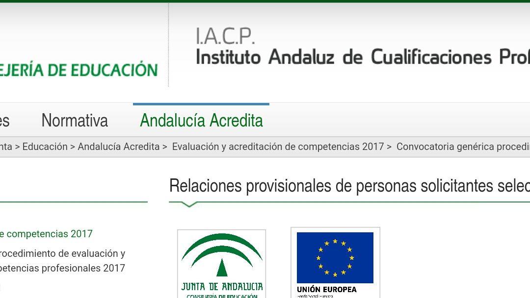 Instrucción en Yoga. Junta de Andalucía, Acredita 2017: Relaciones provisionales de personas solicitantes seleccionadas y excluidas