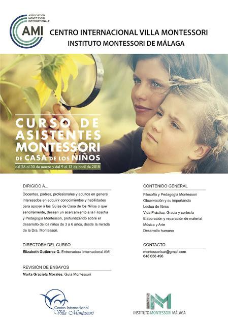 Curso de Asistentes Montessori de Casa de los Niños. AMI. Málaga. Primavera. Descuento para soci@s del IAYoga de 20€