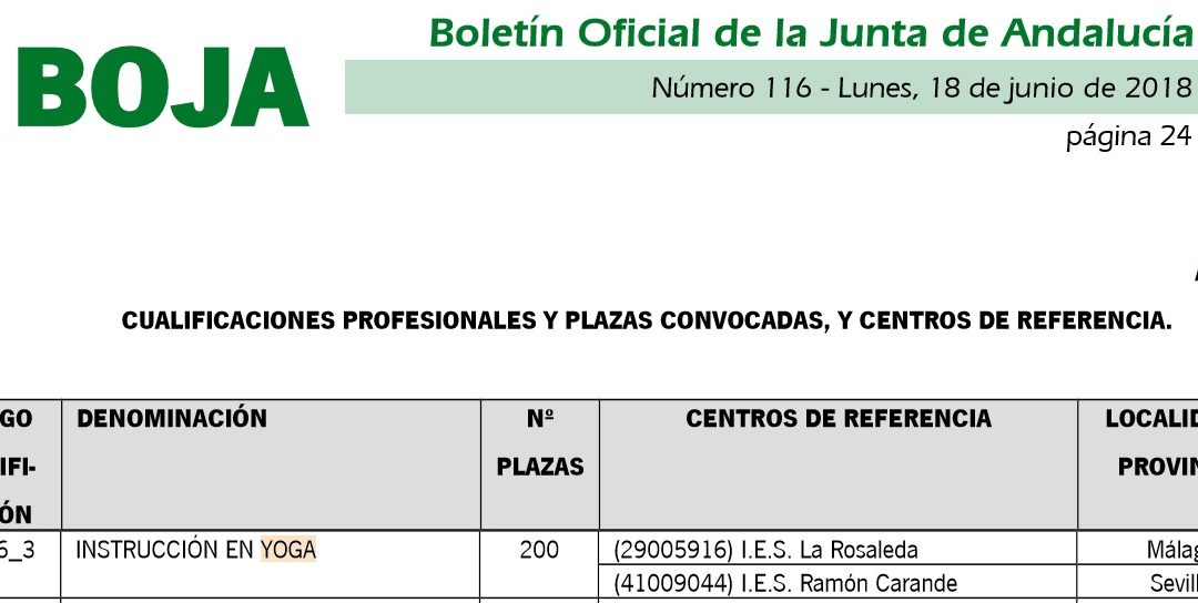 Yoga: Convocadas 200 plazas para Evaluación y acreditación de competencias de Instructor en Yoga. Junta de Andalucía.