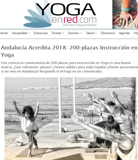 Comunicado del IAYoga en Yoga en Red y Reunión informativa Acredita 2018. 200 plazas de yoga. Sábado 30 de junio, de 9'00 a 11'30 de la mañana.