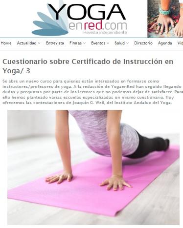 Formación y Certificación oficial de Yoga en Andalucía. Joaquín G Weil en Yoga en Red