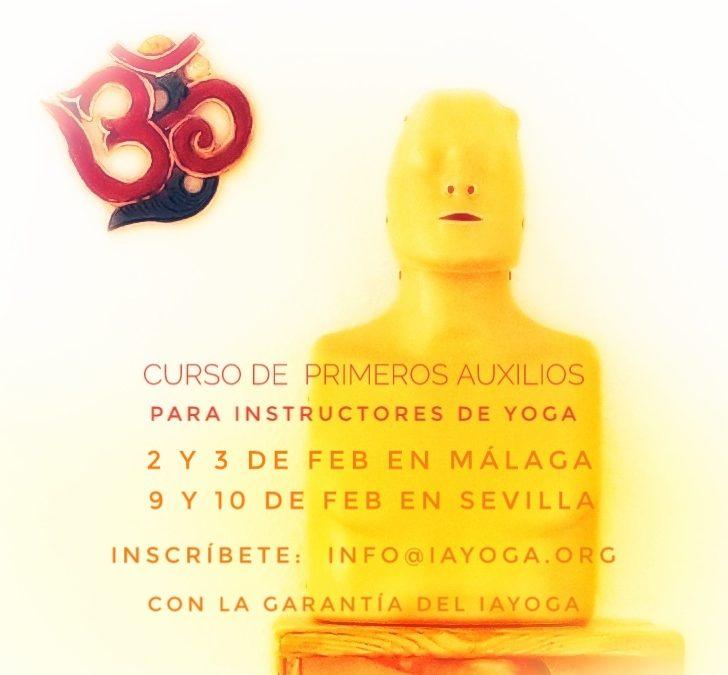 Curso de Primeros Auxilios para Instructores de Yoga, 2, 3 de feb, Málaga y 9 y 10 de feb en Sevilla.