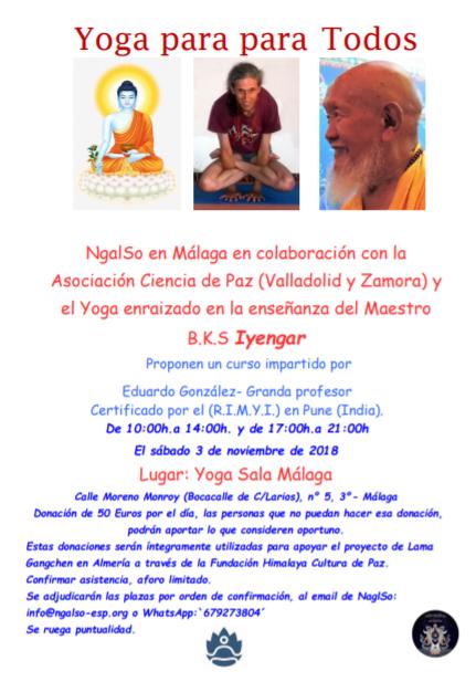 3 de noviembre: Yoga para Todos, con Eduardo Gonzalez – Granda. En YogaSala Málaga, C/ moreno Monroy 5