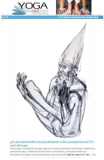"""""""¿Es pseudocientífico el pseudolistado sobre pseudociencias? El caso del yoga"""" Artículo de Joaquín G Weil destacado en el newsletter de la revista online Yoga en Red.  Ilustración: Valerio Gentile"""