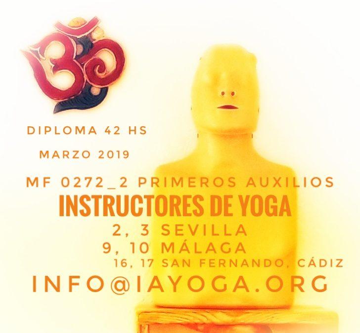(Nuevas convocatorias) Curso de Primeros Auxilios para Instructores de Yoga, 2, 3 de marzo, Sevilla, 9 y 10 de marzo en Málaga, 16 y 17 marzo San Fernando, Cádiz