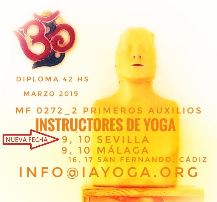 Curso de Primeros Auxilios para Instructores de Yoga, (Nueva fecha) 9, 10 de marzo, Sevilla, 9 y 10 de marzo en Málaga, 16 y 17 marzo San Fernando, Cádiz