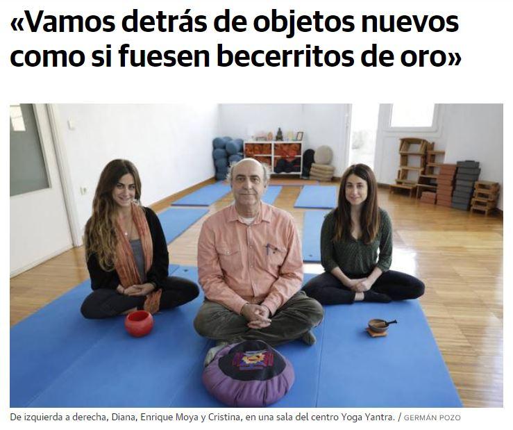 Entrevista en el diario SUR: Pionero de la enseñanza del yoga en Málaga, Enrique Moya cumple 40 años al frente de su escuela en La Malagueta