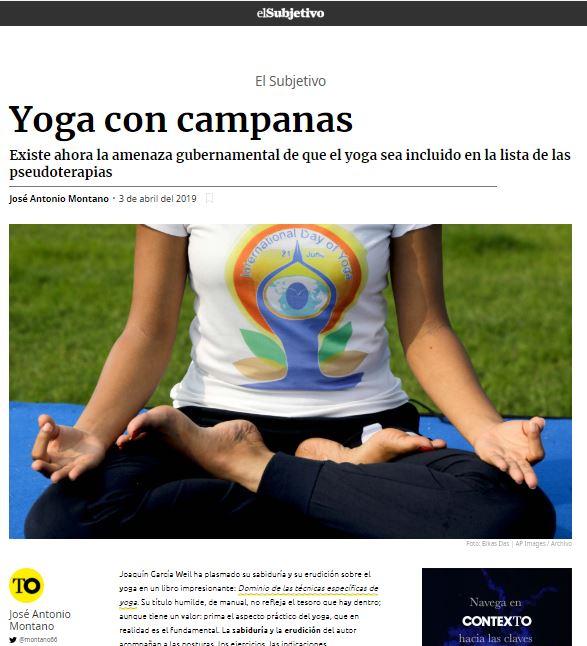 """En The Objetive """"Yoga con campanas"""", artículo de José Antonio Montano"""