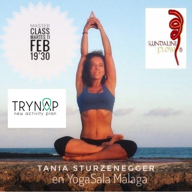 Invitación gratuita para soci@s del IAYoga: Master class Kundalini Flow con Tania Sturzenegger. Martes 11 de febrero, a las 19'30 hs. en YogaSala Málaga