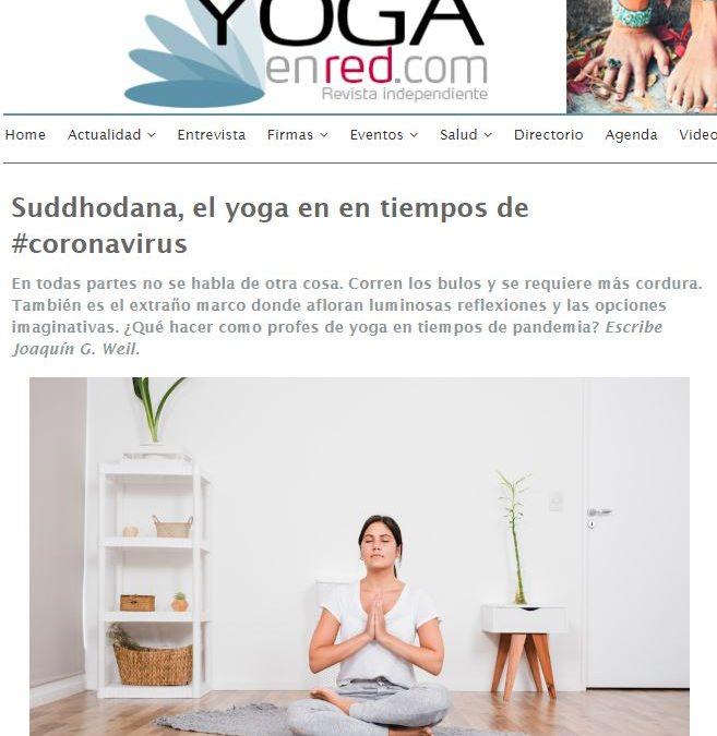"""""""Suddhodana, el #yoga en en tiempos de #coronavirus"""", artículo de Joaquín G Weil en Yoga en Red"""