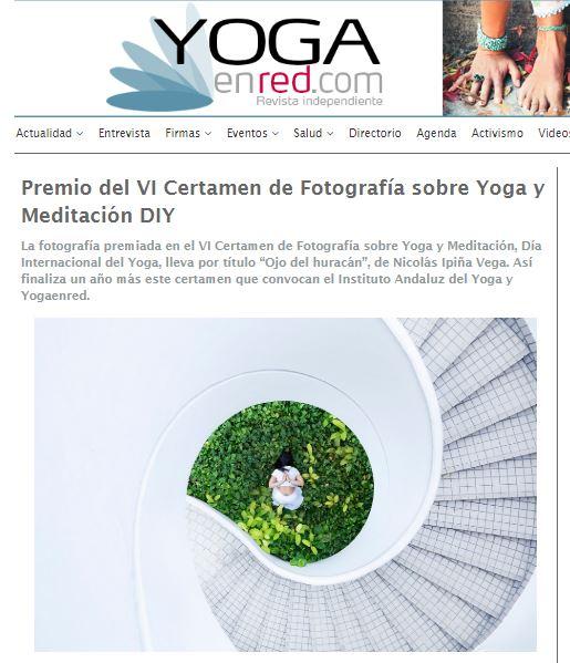 Premio del VI Certamen de Fotografía sobre Yoga y Meditación DIY en Yoga en Red y en Cuentamealgobueno
