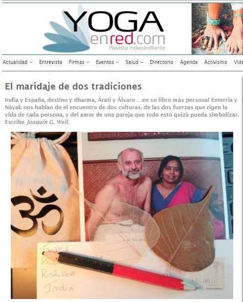 """""""El maridaje de dos tradiciones"""" Reseña de Joaquín G Weil en Yoga en Red Sobre el libro de A. Enterría y A. Náyak"""