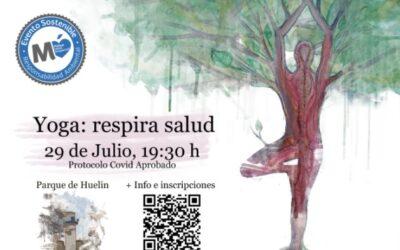 """***AFORO COMPLETO*** """"Yoga: respira salud"""" Verano Deportivo 2021. Jueves, 29 de julio al aire libre en el Parque de Huelin. Organizado por el Ayto. de Málaga y el IAYoga."""